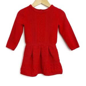 JANIE & JACK Red Cable Knit Sweater Dress 12-18 M